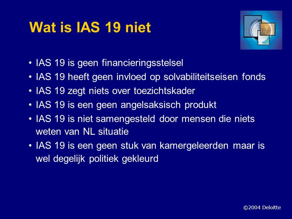 Wat is IAS 19 niet IAS 19 is geen financieringsstelsel