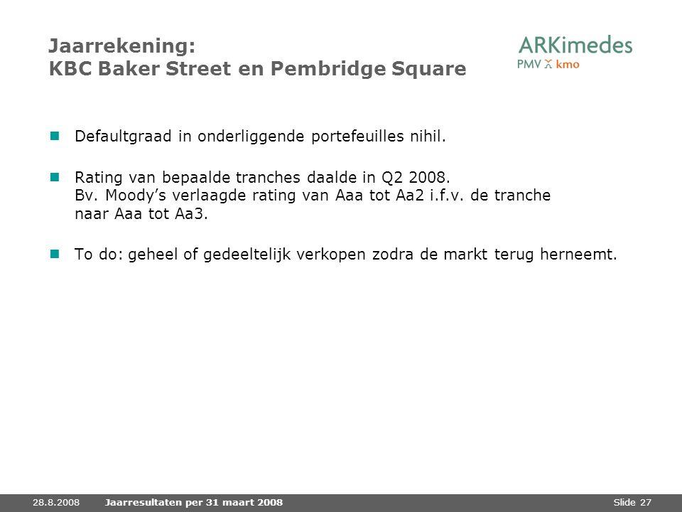Jaarrekening: KBC Baker Street en Pembridge Square