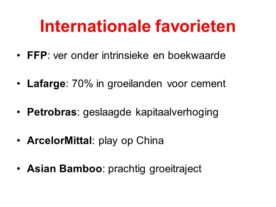 Internationale favorieten
