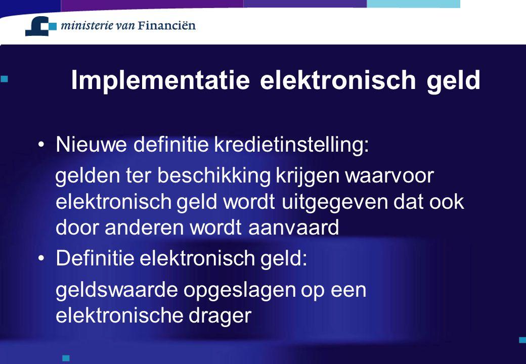 Implementatie elektronisch geld