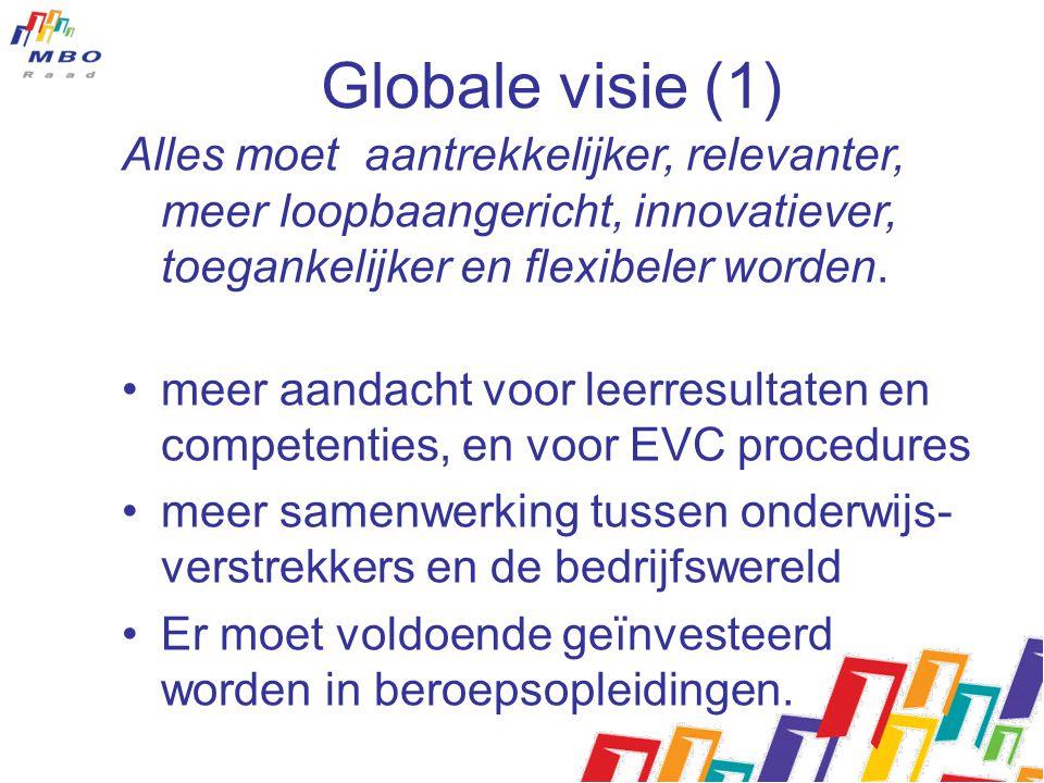Globale visie (1) Alles moet aantrekkelijker, relevanter, meer loopbaangericht, innovatiever, toegankelijker en flexibeler worden.