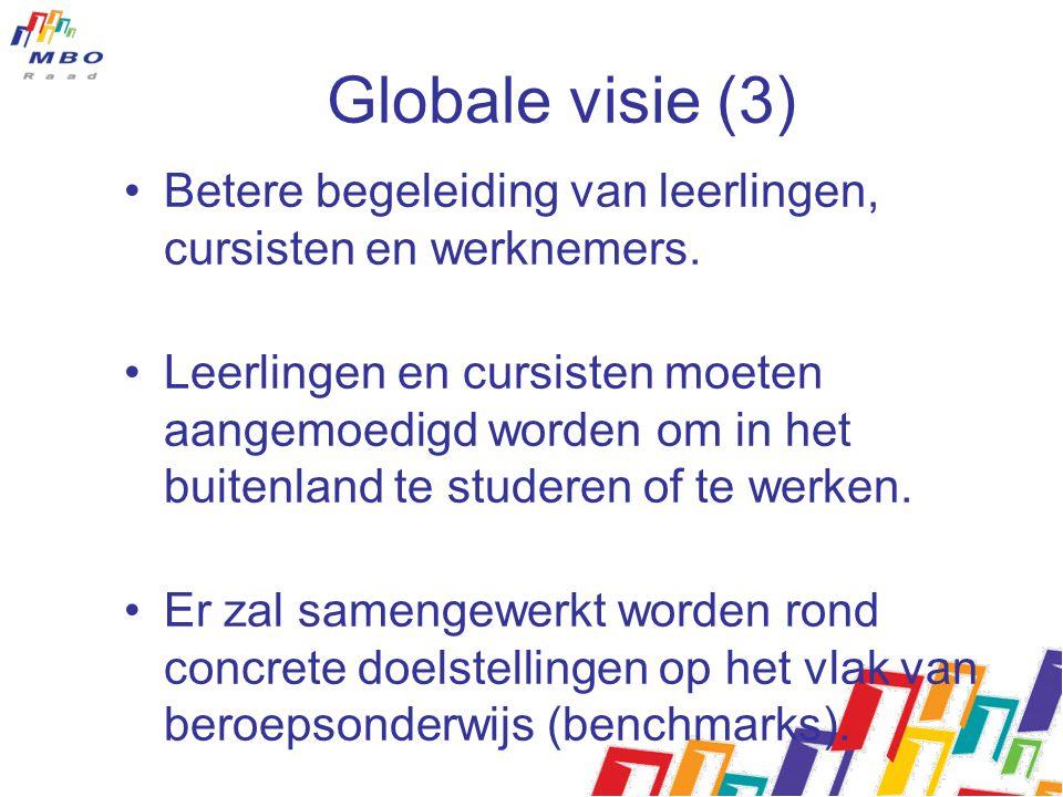Globale visie (3) Betere begeleiding van leerlingen, cursisten en werknemers.