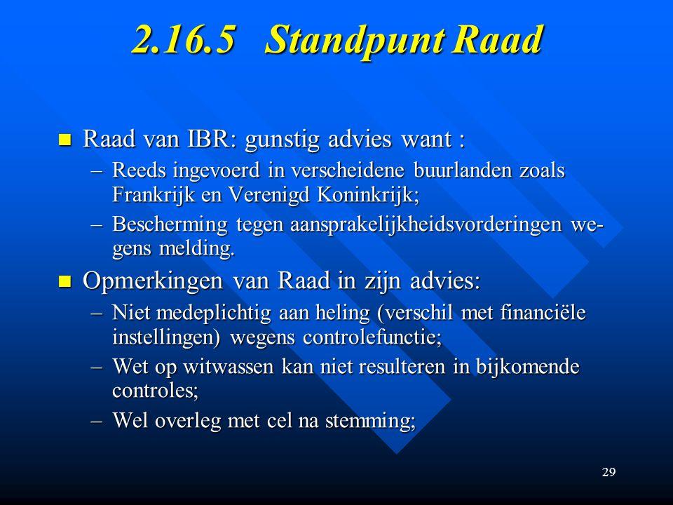 2.16.5 Standpunt Raad Raad van IBR: gunstig advies want :