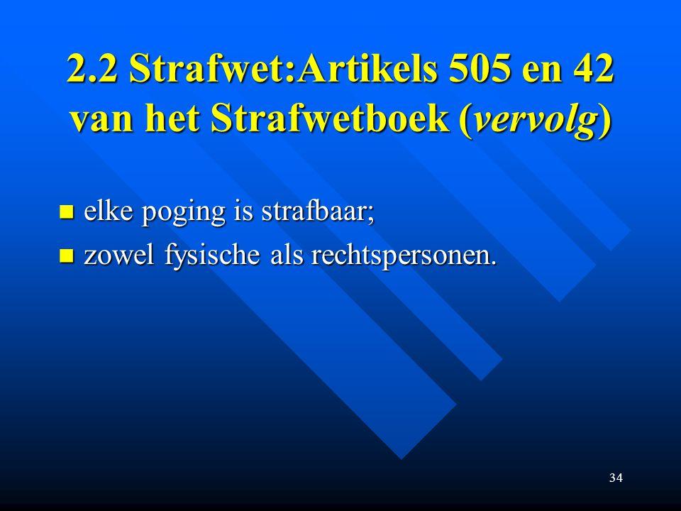 2.2 Strafwet:Artikels 505 en 42 van het Strafwetboek (vervolg)