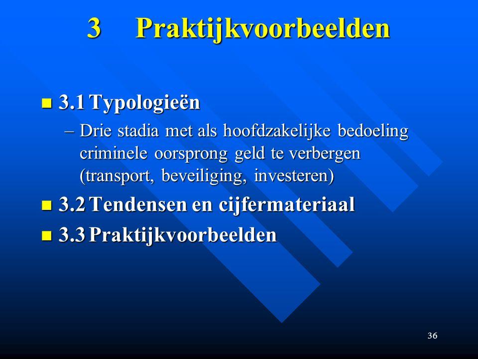 3 Praktijkvoorbeelden 3.1 Typologieën 3.2 Tendensen en cijfermateriaal