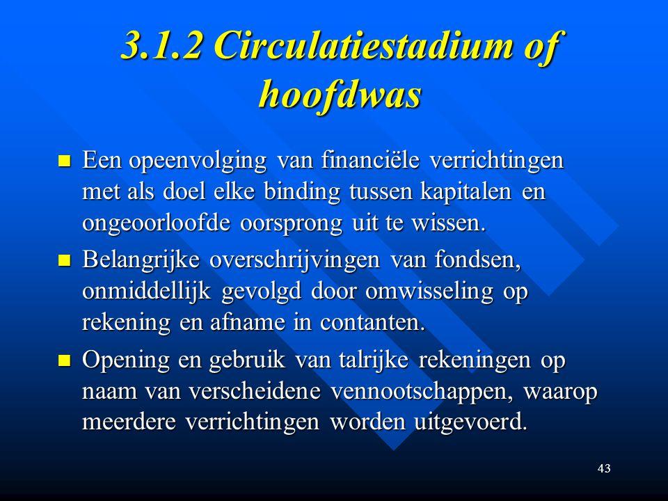 3.1.2 Circulatiestadium of hoofdwas
