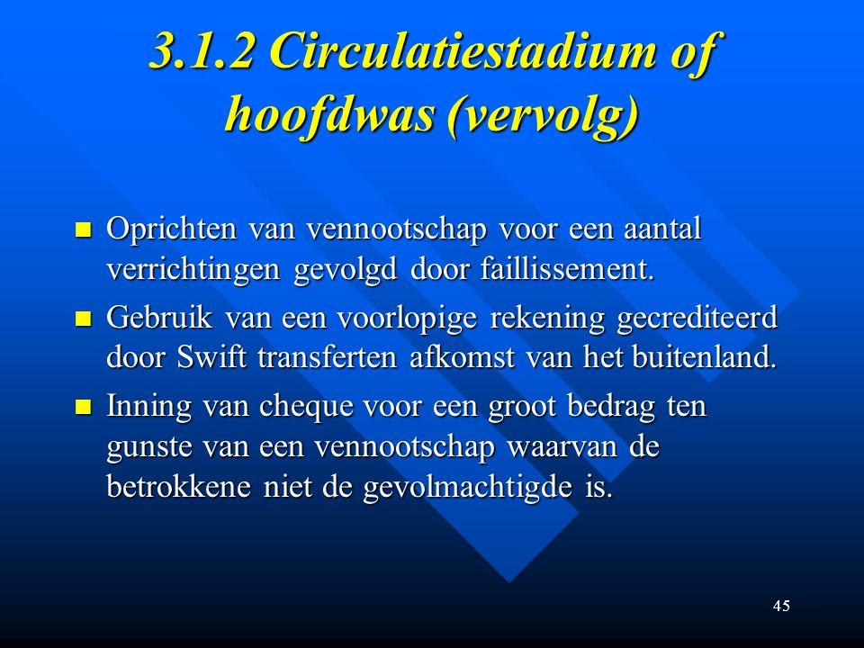 3.1.2 Circulatiestadium of hoofdwas (vervolg)