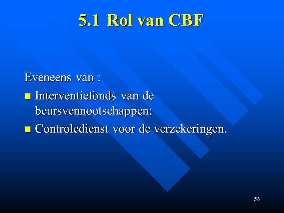 5.1 Rol van CBF Eveneens van :