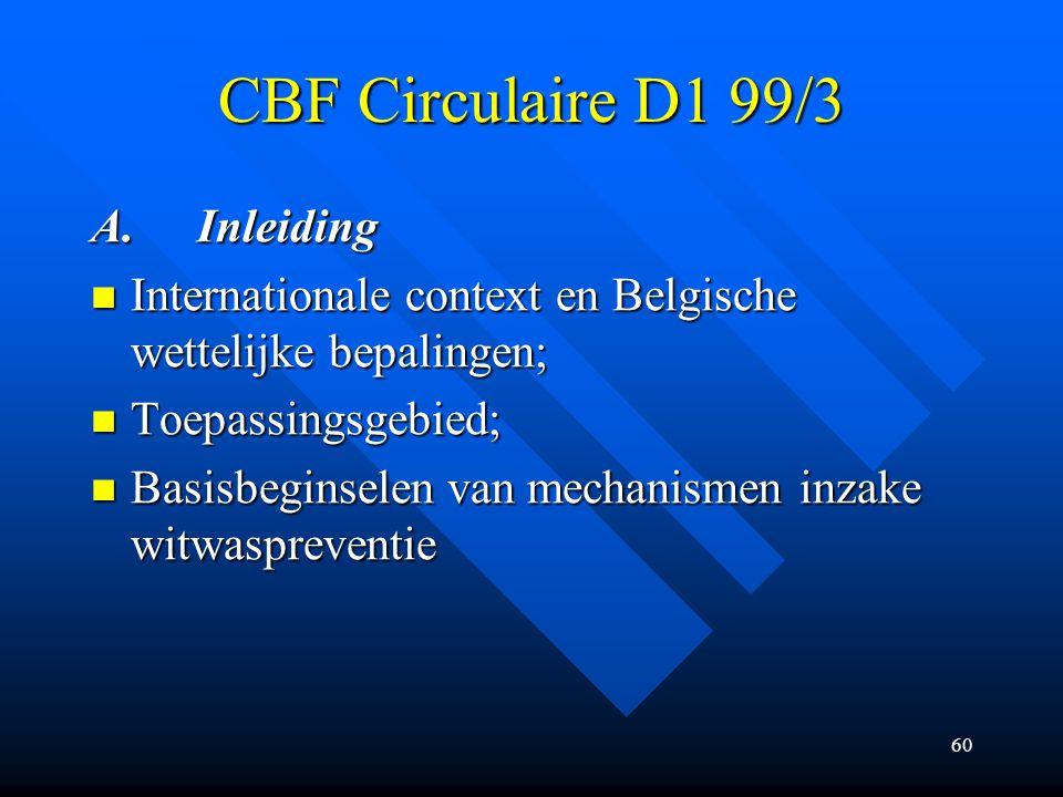 CBF Circulaire D1 99/3 A. Inleiding
