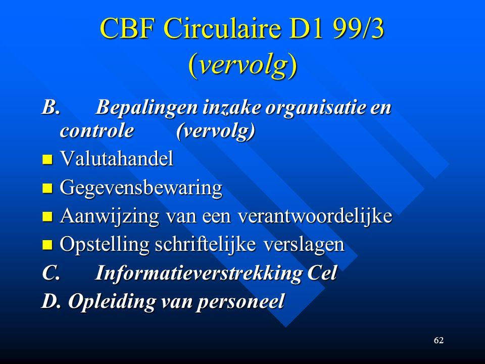 CBF Circulaire D1 99/3 (vervolg)