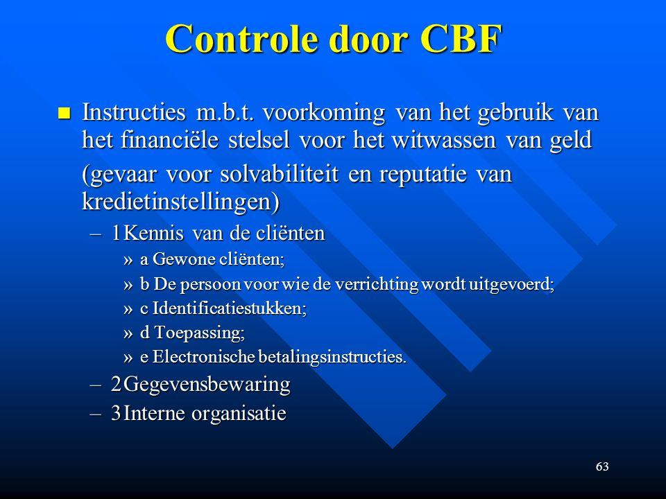 Controle door CBF Instructies m.b.t. voorkoming van het gebruik van het financiële stelsel voor het witwassen van geld.