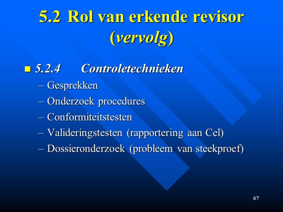 5.2 Rol van erkende revisor (vervolg)