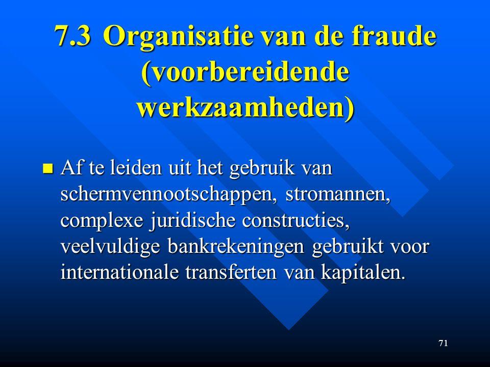 7.3 Organisatie van de fraude (voorbereidende werkzaamheden)