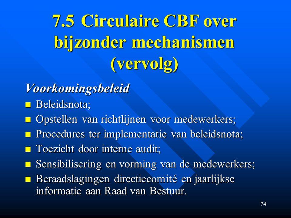 7.5 Circulaire CBF over bijzonder mechanismen (vervolg)