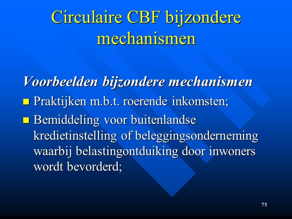 Circulaire CBF bijzondere mechanismen