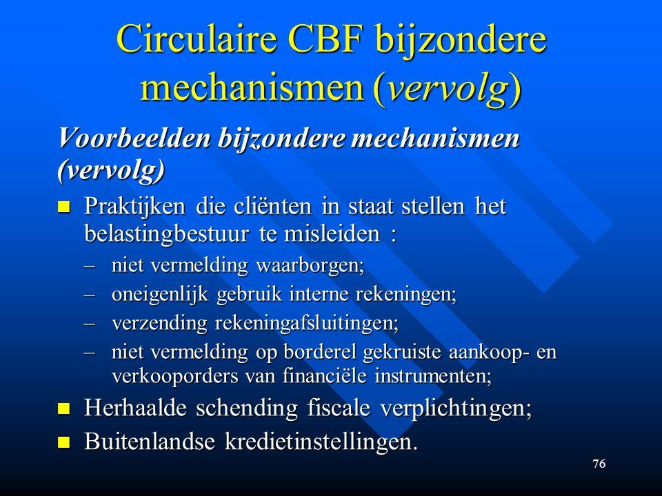 Circulaire CBF bijzondere mechanismen (vervolg)