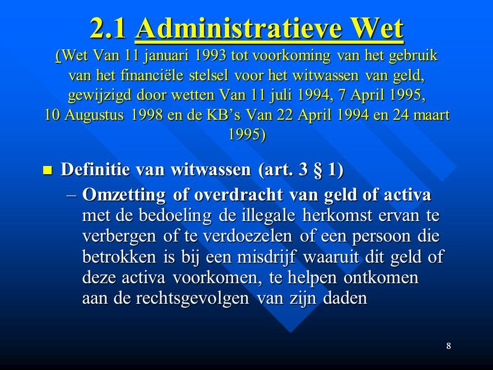 2.1 Administratieve Wet (Wet Van 11 januari 1993 tot voorkoming van het gebruik van het financiële stelsel voor het witwassen van geld, gewijzigd door wetten Van 11 juli 1994, 7 April 1995, 10 Augustus 1998 en de KB's Van 22 April 1994 en 24 maart 1995)