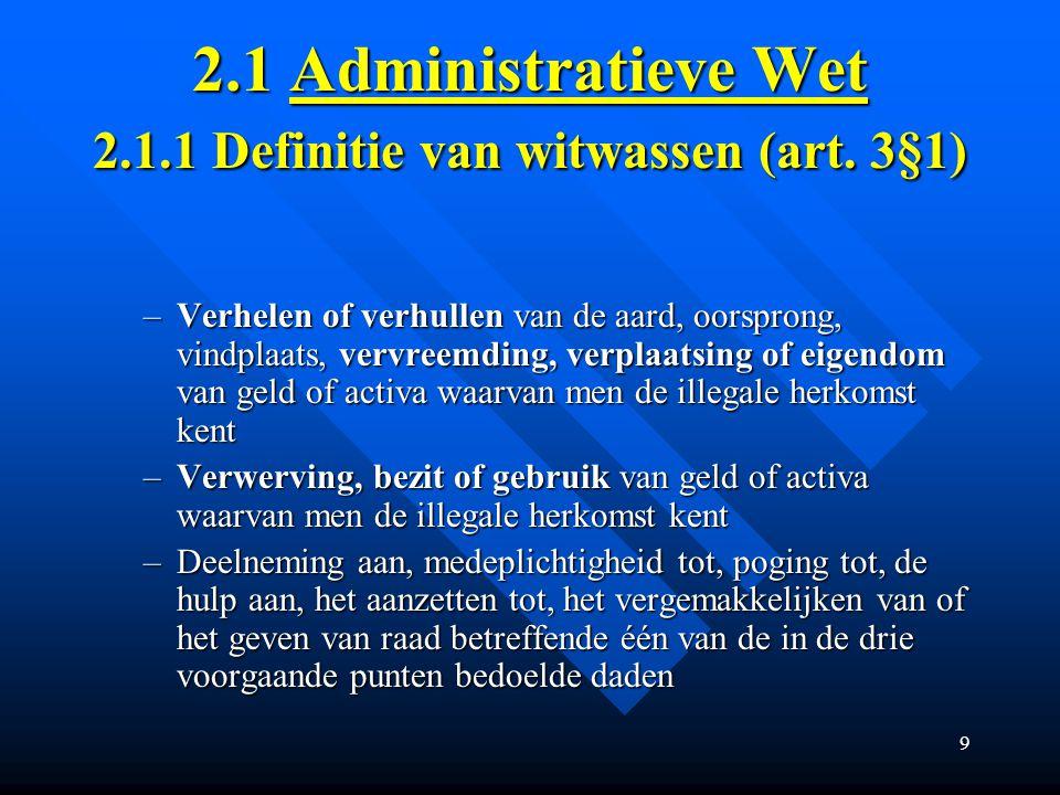 2.1 Administratieve Wet 2.1.1 Definitie van witwassen (art. 3§1)
