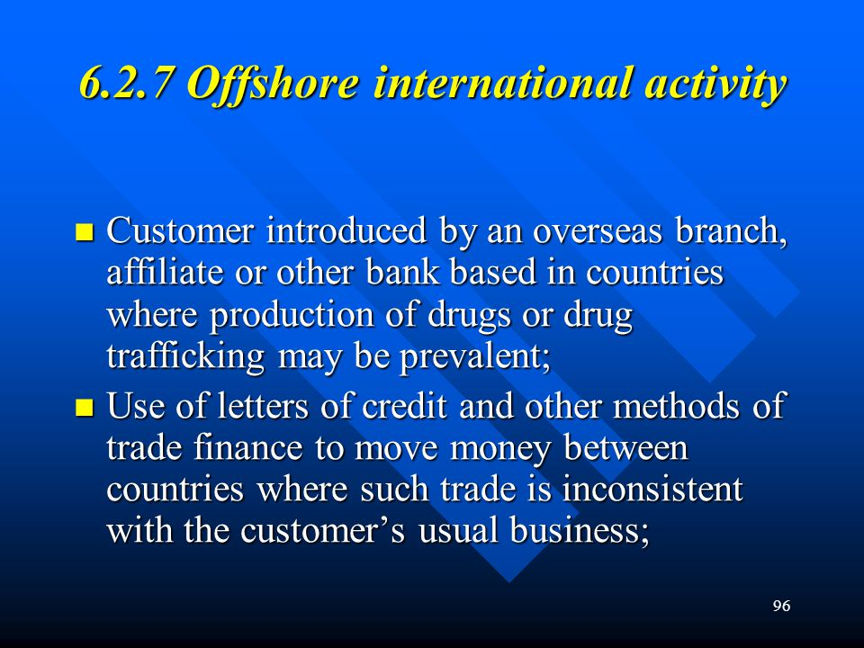6.2.7 Offshore international activity