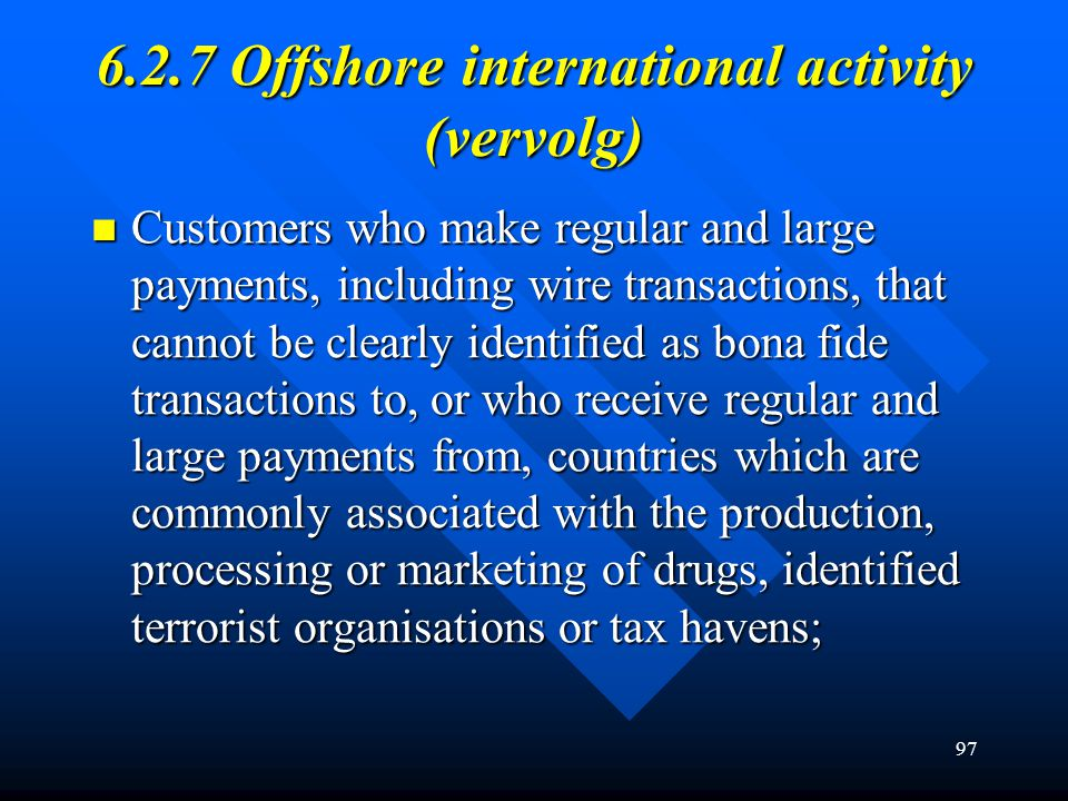 6.2.7 Offshore international activity (vervolg)