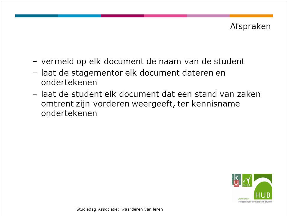 vermeld op elk document de naam van de student