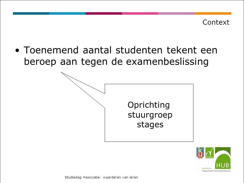 Context Toenemend aantal studenten tekent een beroep aan tegen de examenbeslissing. Oprichting. stuurgroep.