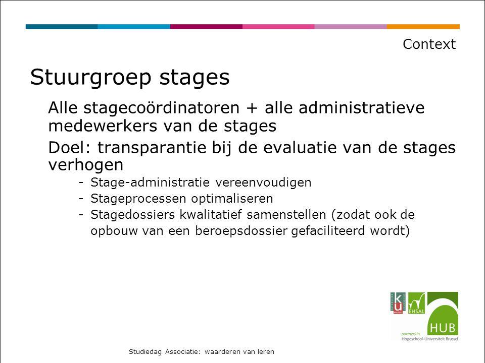 Context Stuurgroep stages. Alle stagecoördinatoren + alle administratieve medewerkers van de stages.