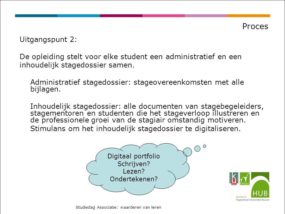 Proces Uitgangspunt 2: De opleiding stelt voor elke student een administratief en een. inhoudelijk stagedossier samen.