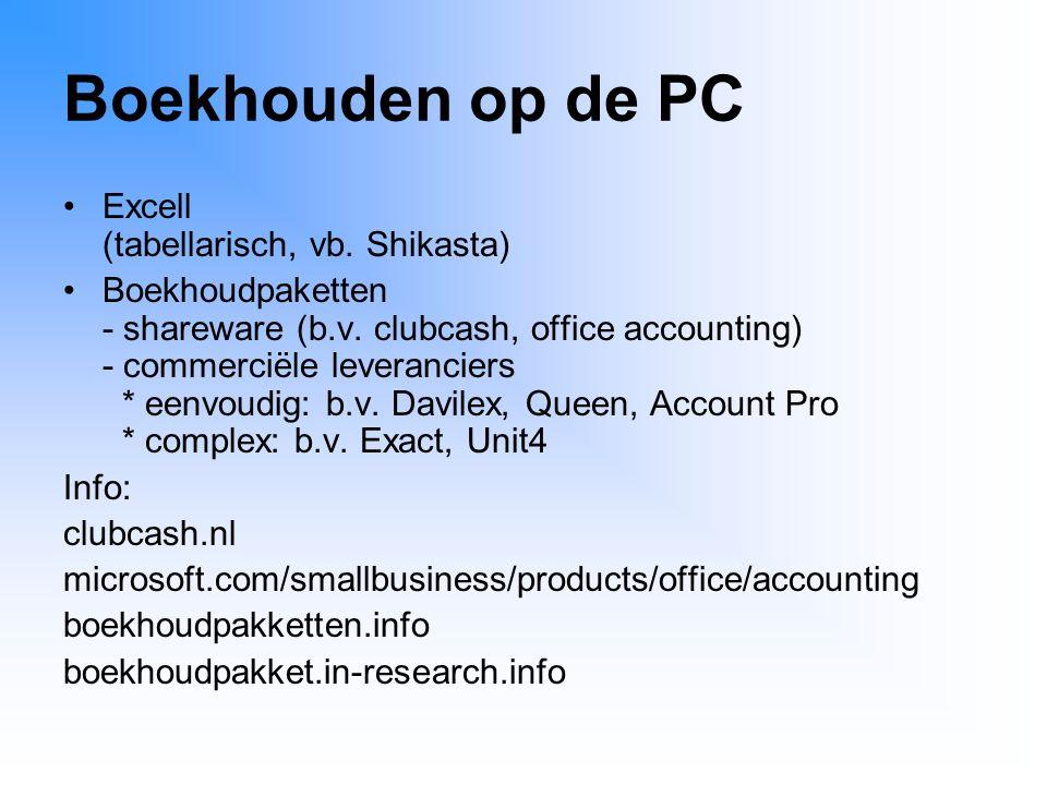 Boekhouden op de PC Excell (tabellarisch, vb. Shikasta)