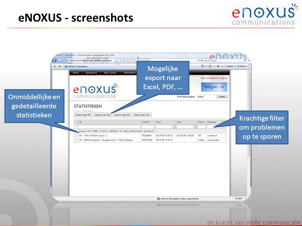 eNOXUS - screenshots Mogelijke export naar Excel, PDF, ...