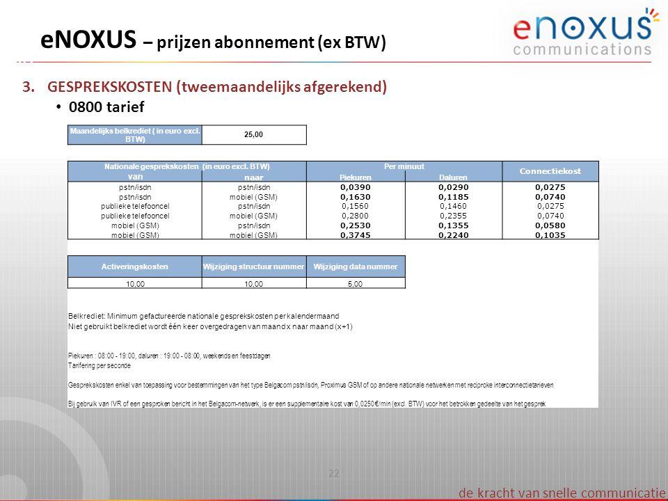 eNOXUS – prijzen abonnement (ex BTW)