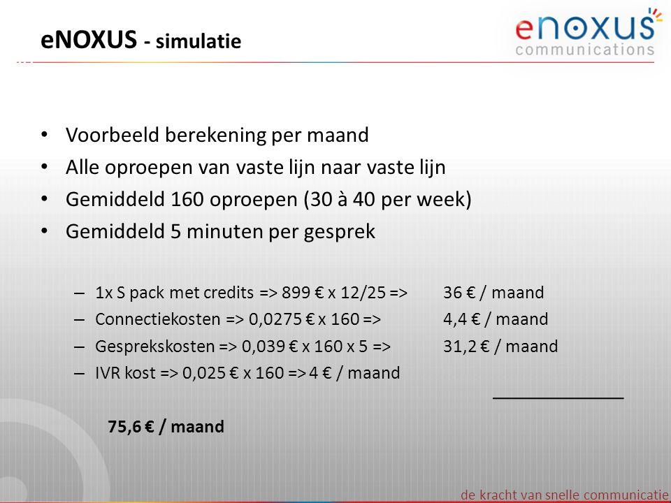 eNOXUS - simulatie Voorbeeld berekening per maand