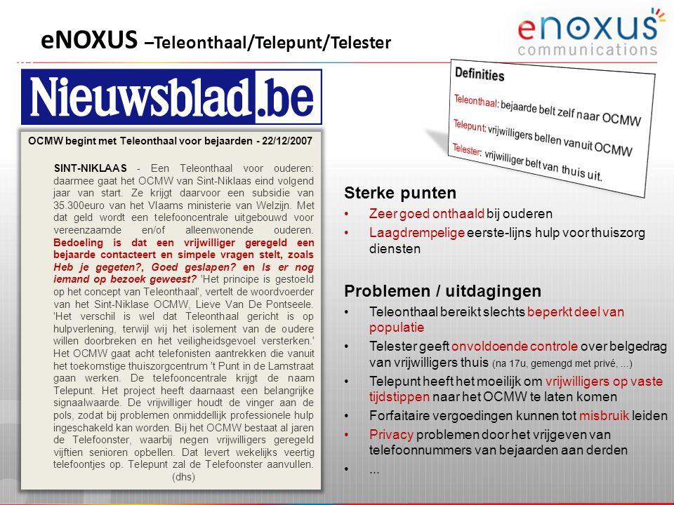 eNOXUS –Teleonthaal/Telepunt/Telester
