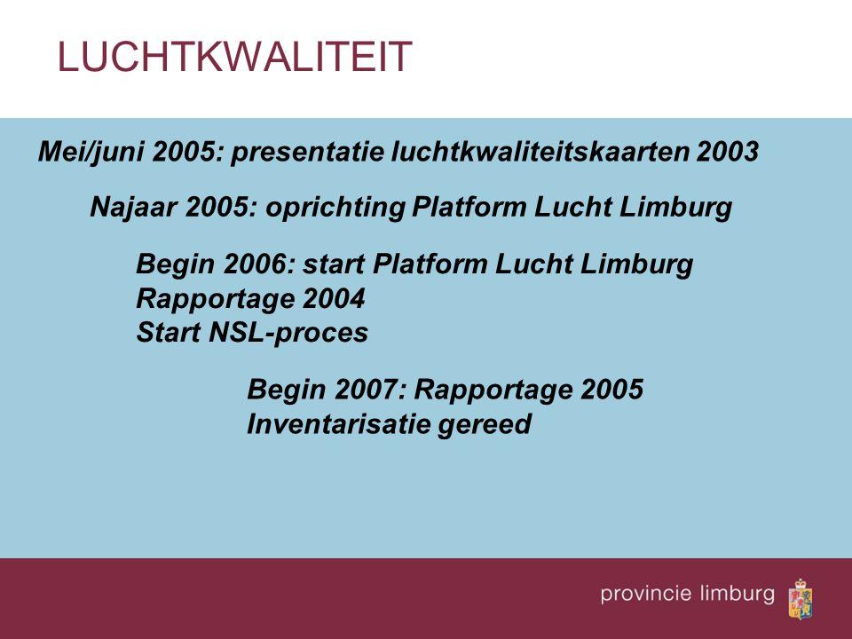 LUCHTKWALITEIT Mei/juni 2005: presentatie luchtkwaliteitskaarten 2003