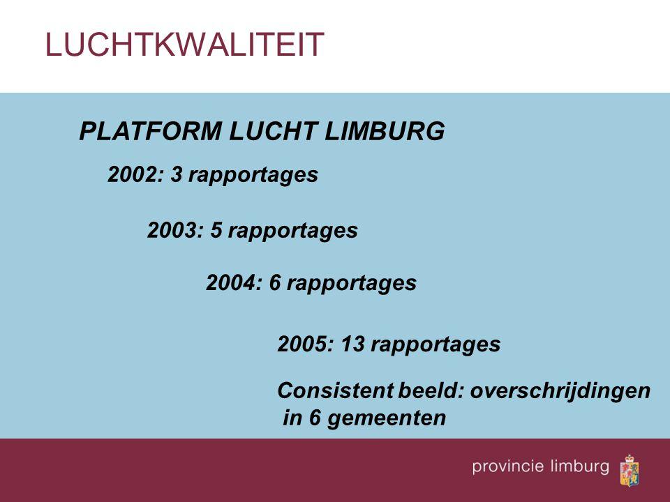 LUCHTKWALITEIT PLATFORM LUCHT LIMBURG 2002: 3 rapportages