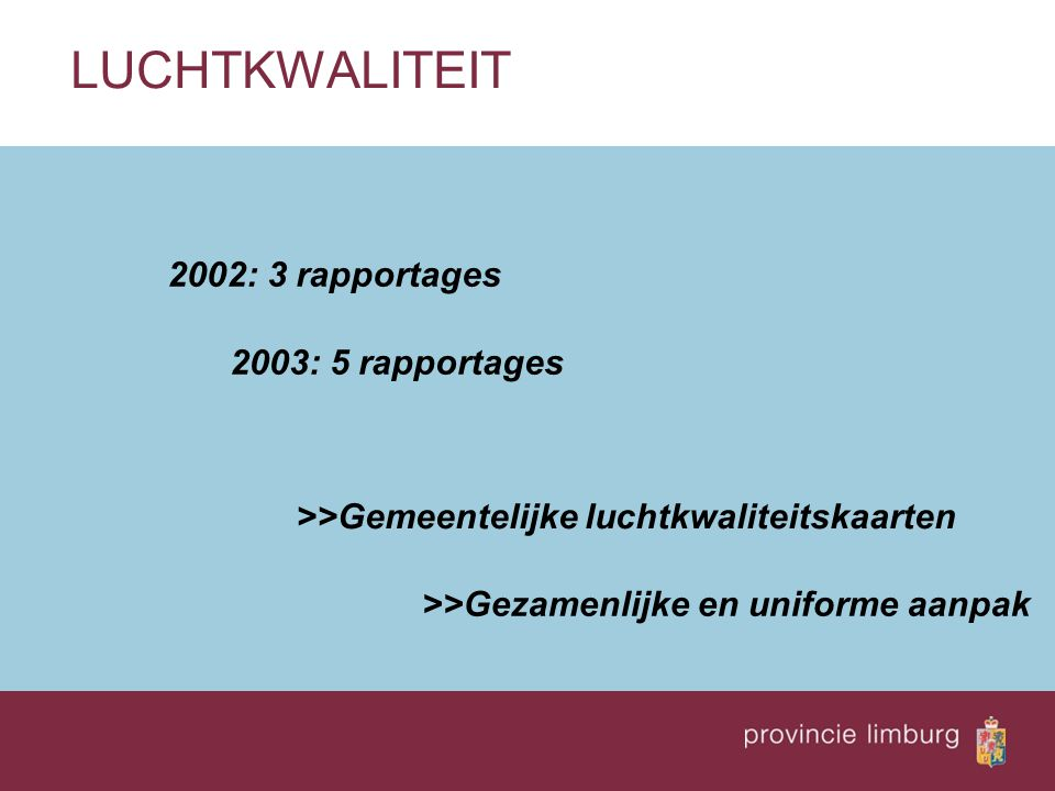 LUCHTKWALITEIT 2002: 3 rapportages 2003: 5 rapportages
