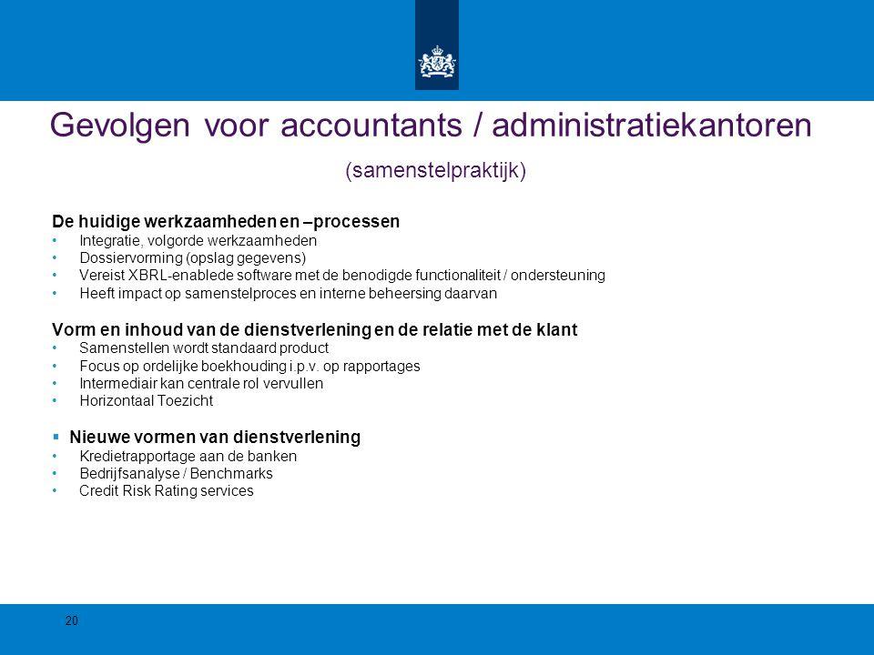 Gevolgen voor accountants / administratiekantoren (samenstelpraktijk)