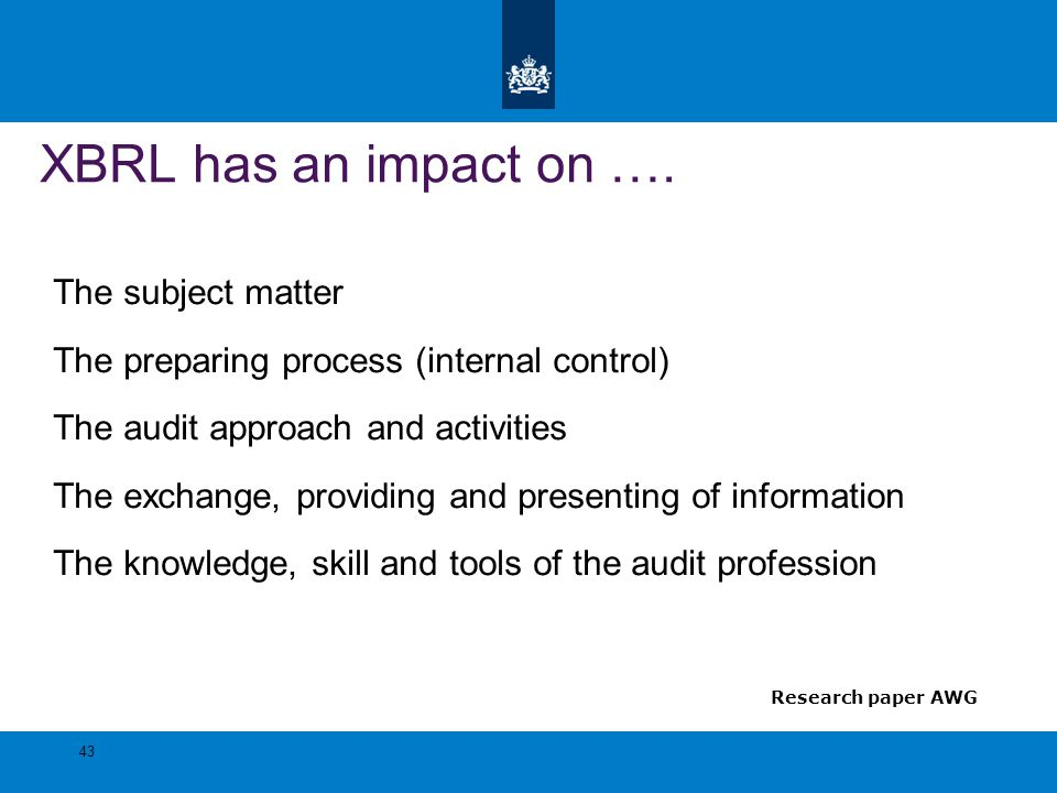 XBRL has an impact on …. The subject matter