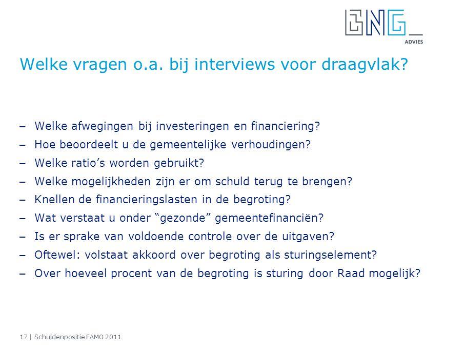 Welke vragen o.a. bij interviews voor draagvlak