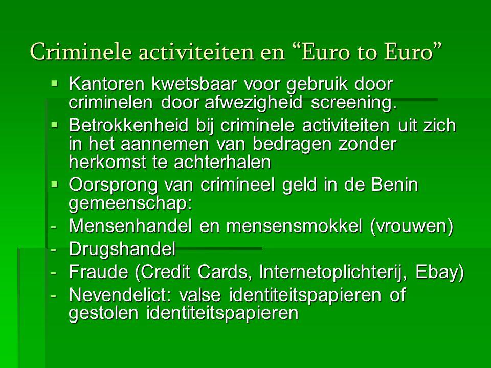 Criminele activiteiten en Euro to Euro