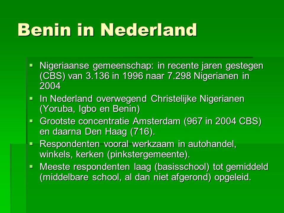 Benin in Nederland Nigeriaanse gemeenschap: in recente jaren gestegen (CBS) van 3.136 in 1996 naar 7.298 Nigerianen in 2004.