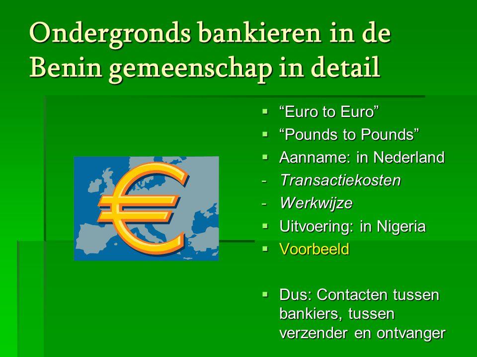 Ondergronds bankieren in de Benin gemeenschap in detail