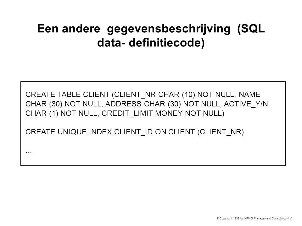 Een andere gegevensbeschrijving (SQL data- definitiecode)