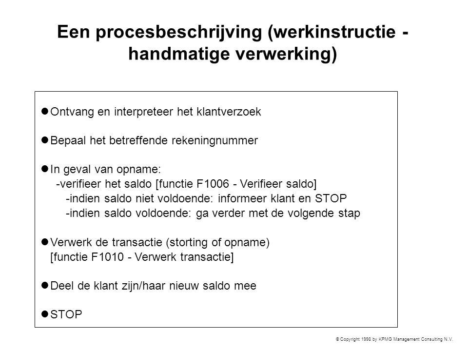 Een procesbeschrijving (werkinstructie - handmatige verwerking)