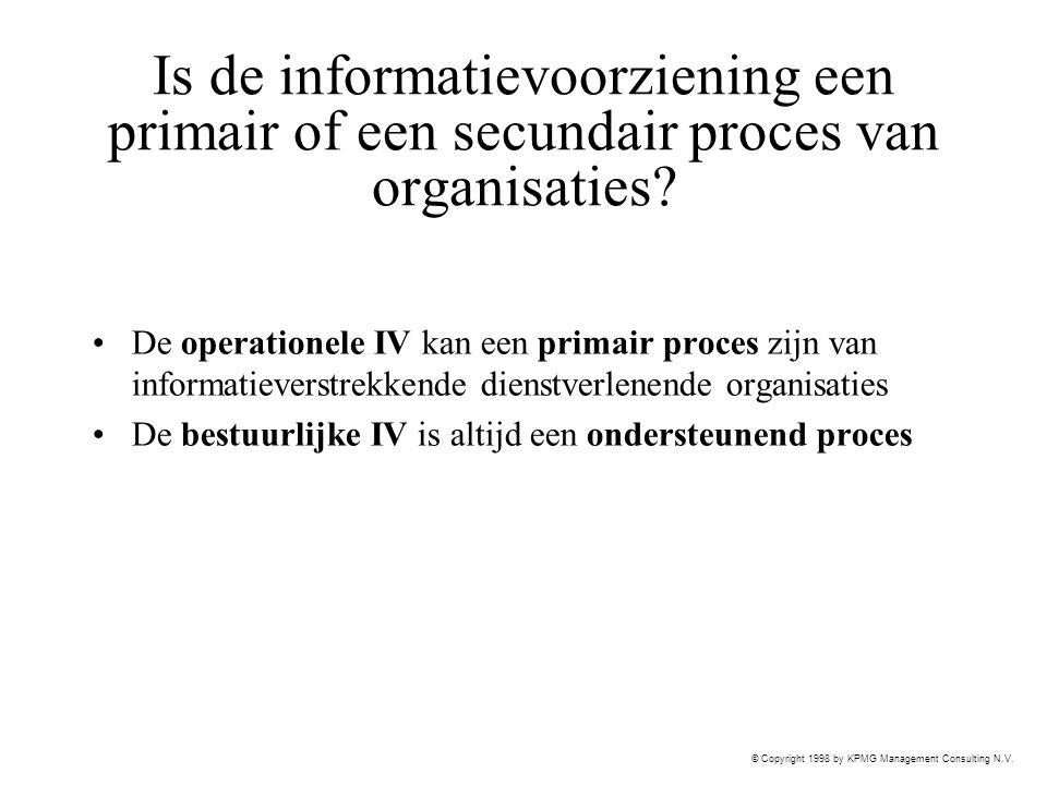 Is de informatievoorziening een primair of een secundair proces van organisaties