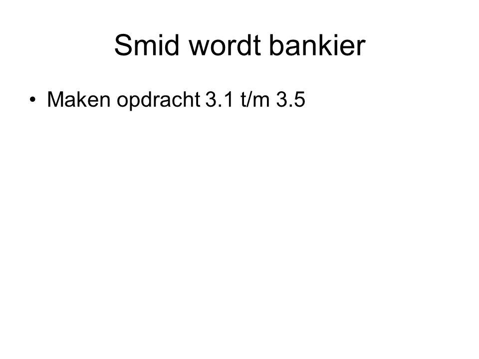 Smid wordt bankier Maken opdracht 3.1 t/m 3.5