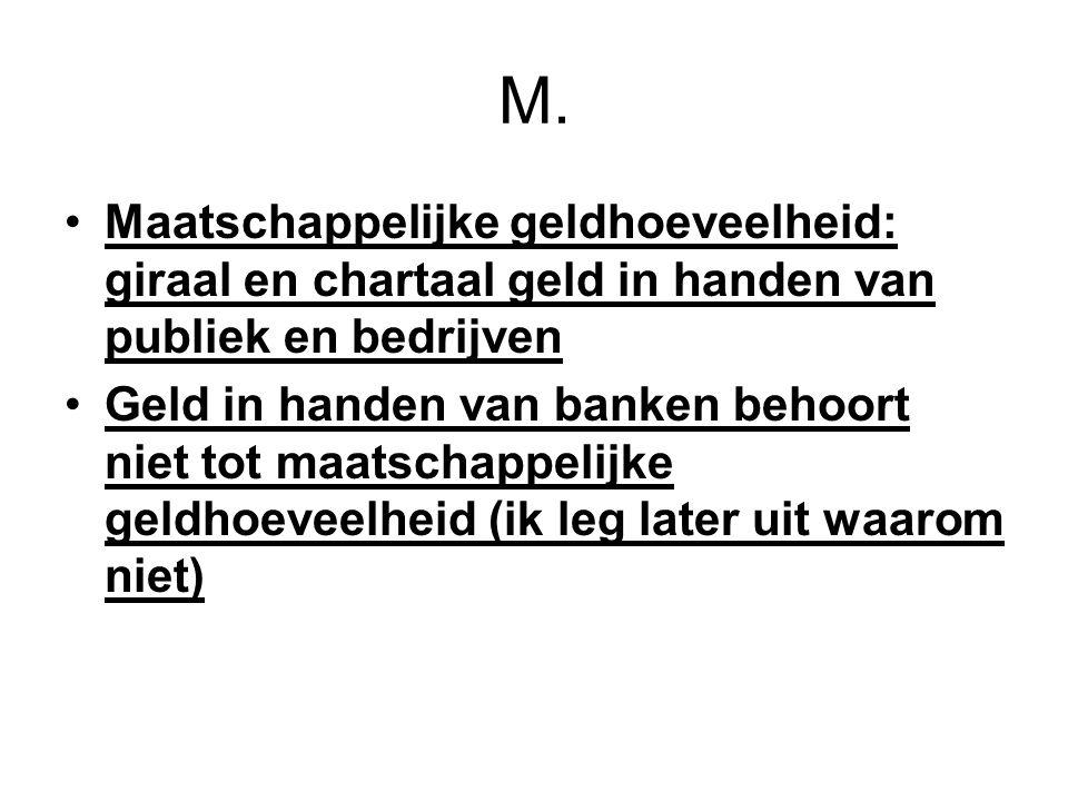 M. Maatschappelijke geldhoeveelheid: giraal en chartaal geld in handen van publiek en bedrijven.
