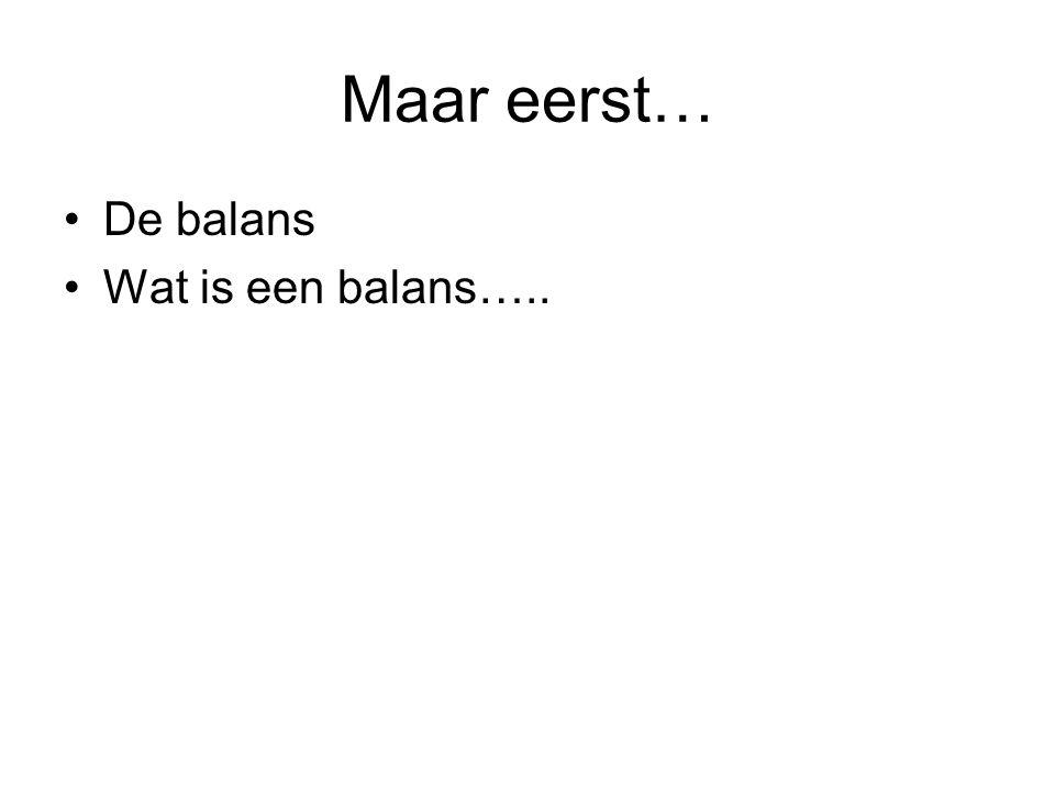 Maar eerst… De balans Wat is een balans…..