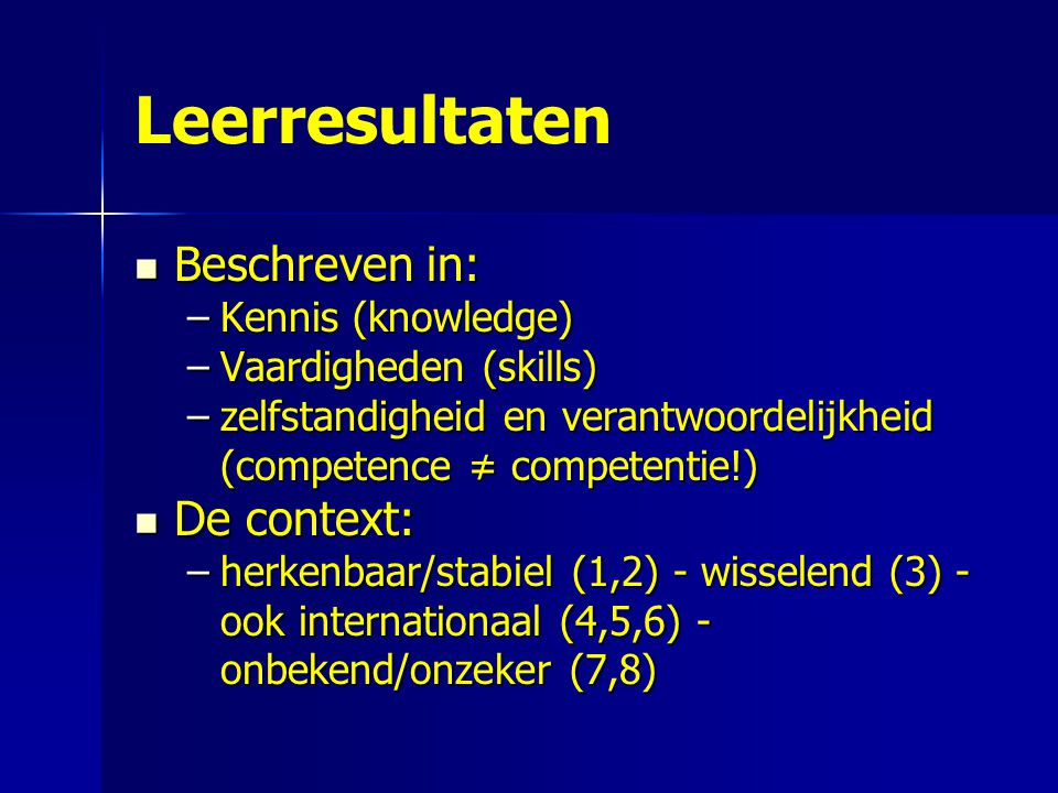 Leerresultaten Beschreven in: De context: Kennis (knowledge)
