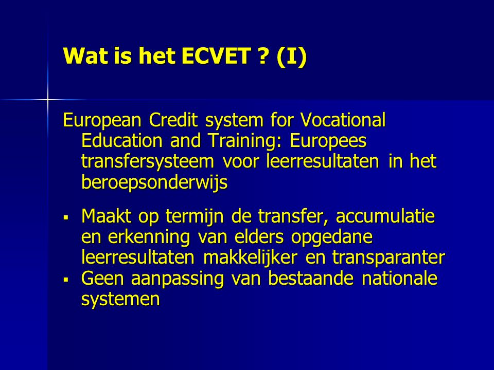 Wat is het ECVET (I)
